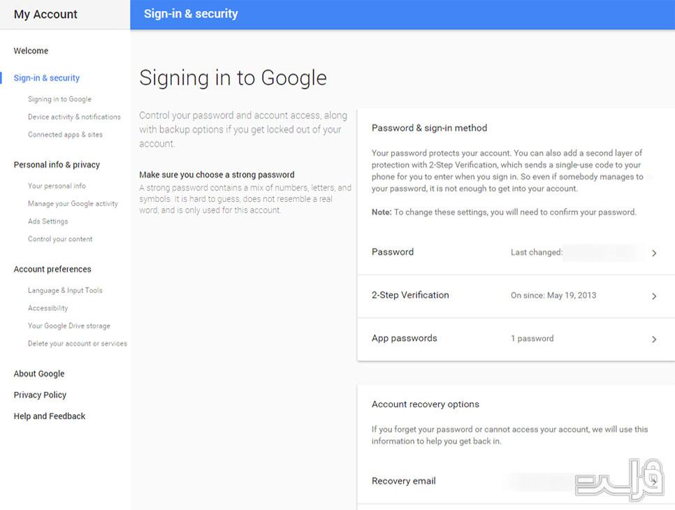 ایمنسازی اکانت Gmail