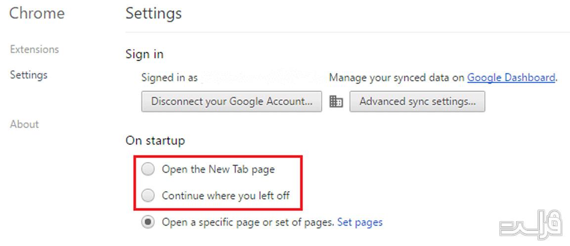 تنظیمات مرورگر گوگل کروم