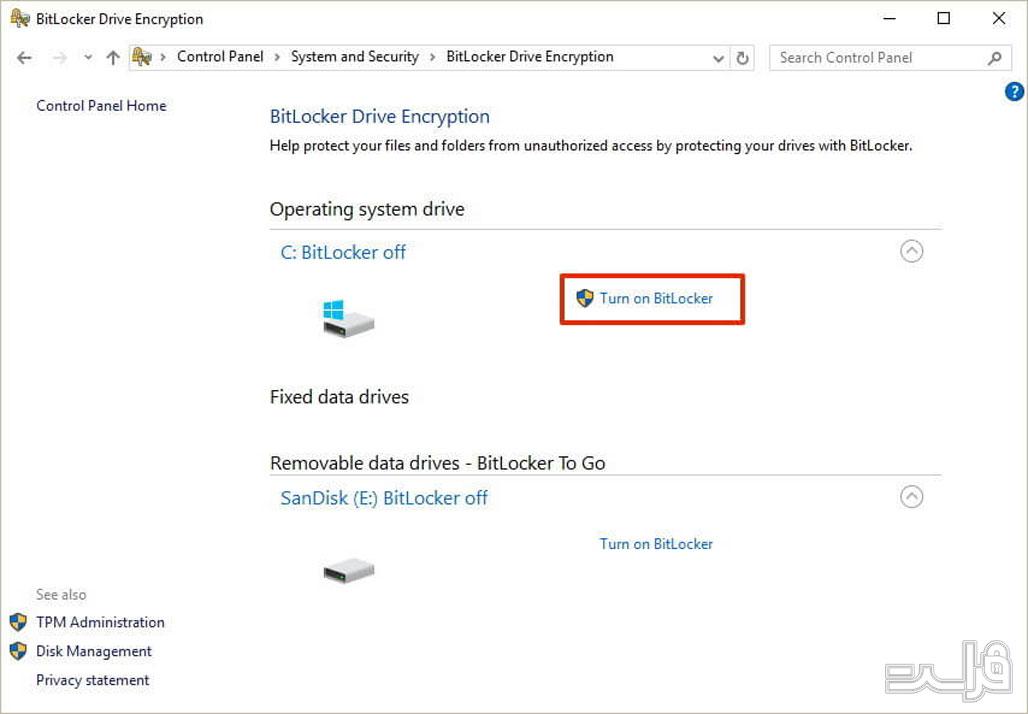 نرمافزار رمزگذاری BitLocker