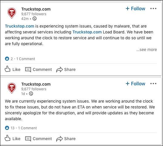 حمله بدافزاری به وب سایت Truckstop.com